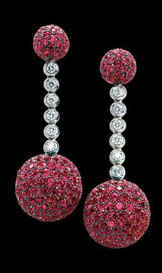 de Grisogono Boule Collection, Earrings White gold - rubies - white diamonds