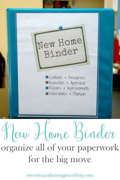 There's so much to keep up with during a move to a new house, so put all your paperwork in a New Home Binder. Keep up with receipts, contact information, warranties, measurements, etc and keep this one binder with you throughout the move.