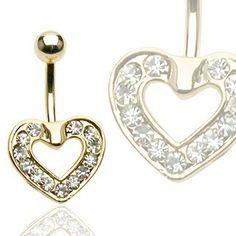 Navlepiercing med guldbelagt hjerte 48 kr