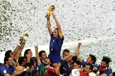 Fabio Cannavaro lifts the World Cup trophy in 2006 after his side beat France in the final.