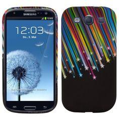 cool kwmobile FUNDA de TPU silicona para Samsung Galaxy S3 i9300 / S3 Neo i9301 Diseño estrellas fugaces multicolor azul negro - Estilosa funda de diseño de TPU blando de alta calidad