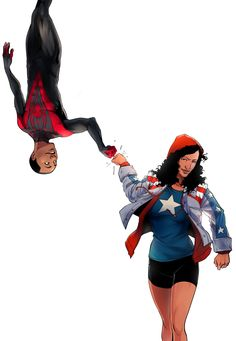 Miles Morales and America Chavez. This is so awesome!