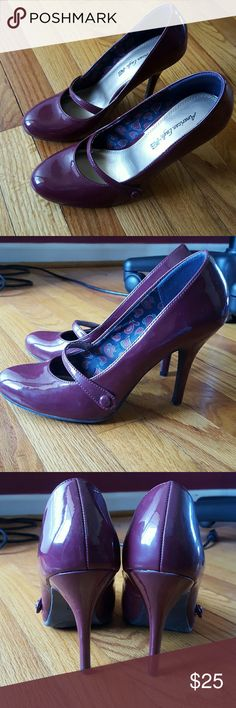 Dark Red High Heels Good condition dark red high heels. Minimal wear, super cute. A little snug for a size 9. American Eagle Shoes Heels