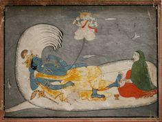 Indian Miniature Paintings - Pahari, Kulu circa 1800. Vishnu in cosmic sleep on on serpent Sheshanaga: