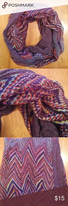 Infinity Scarf Purple Design One side is solid purple, the other side is a purple chevron print. Excellent condition!*30% off bundles* Dress Barn Accessories Scarves & Wraps