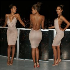 V-neck Backless Spaghetti Strap Bodycon Sheath Knee-length Dress