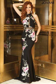 04747d00d91 Multicolored Black Jersey Prom Dress 25112 Prom Dresses Jovani