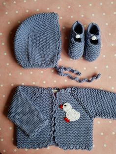 Conjunto bebé de 0 a 3 meses de lana merino azul lavanda