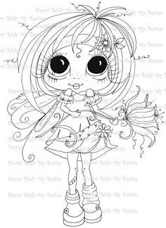 SOFORT-DOWNLOAD digitale Digi Stamps große Augen großer Kopf Puppen Digi-Fee Kitty IMG359 Garden Fairy Blütenblätter von Sherri Baldy