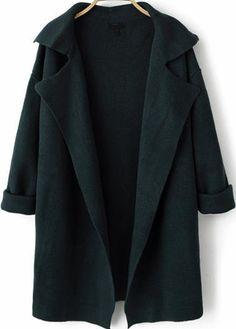 Navy Lapel Long Sleeve Loose Knit Cardigan 38.33