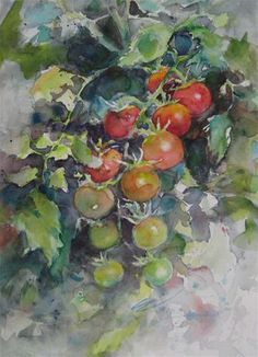 """Daily Paintworks - """"my tomato in the garden"""" - Original Fine Art for Sale - © Wenqing Xu"""