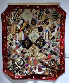 Crazy Quilt dated 1884 - Sioux City Public Museum is the Homegrown Art: Tradition Quilt Designs exhibit