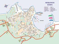 Mykonos Town Map - Mykonos Greece • mappery
