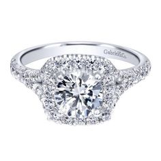 1.30cttw Round Diamond Engagement Ring with Cushion Shaped Halo and Split Shank from Mullen Jewelers