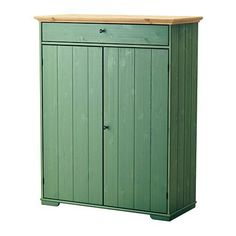 IKEA HURDAL Linen cabinet Green 109 x 50 x 137 cm The solid pine shows off the attractive grains and beauty mark knots that give each unique piece its own naturally grown, individual personality. Ikea Hurdal, Stolmen Ikea, Linen Cabinet, Tall Cabinet Storage, Locker Storage, Ikea Storage, Furniture Storage, Bathroom Storage, Storage Shelves