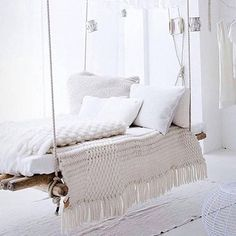 Hammock Perfection   #perfectreadingspot #hammock #hammocklife #white  #whitestyle  #relaxationgoals #relax #comfort #designfurniture #indoormeetsoutdoor #furnitureinspiration #simplicty #style #furniture #outdoorelegance #daybed #bed #daybedfurniture by @outdoor_elegance