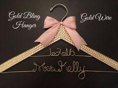 Gold BLING Wedding Hanger Rhinestone Hanger Bridal by GetHungUp