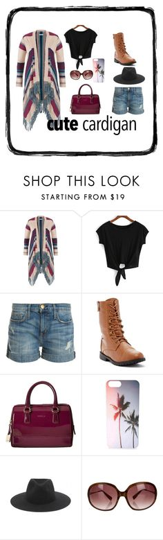 """""""Cute Cardigan"""" by moeena ❤ liked on Polyvore featuring maurices, Current/Elliott, Furla, rag & bone, Oliver Peoples, casualoutfit, thedailylook and mycardi"""