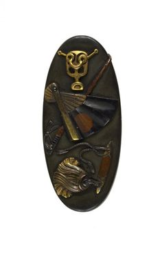 Kashira with Samurai accessories / shibuichi, gold, copper