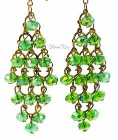 Green Chandelier Earrings  Aurora Borealis Rhinestones  St Patricks Day Fashion  #ChandelierEarrings #StPatricksDay #FashionEarrings #Green