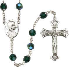 Sterling Silver Rosary features 8mm Emerald Swarovski, Capped Our Father Aurora…