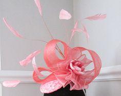 Coral Pink Fascinator - Racing Hat - Wedding hat - Ascot - Ladies Day Hat - Edit Listing - Etsy Fascinators, Headpieces, Ascot Ladies Day, Pink Fascinator, Wedding Hats, Pink Design, Coral Pink, Kentucky Derby, Racing