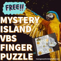 Mystery Island VBS Finger Puzzle - This FREE printable is for the Mystery Island Vacation Bible School theme from Answers in Genesis. Submerged Vbs, Vacation Bible School, Dog Hacks, School Themes, Free Printables, Bible Verses, Mystery, Clip Art, Christian