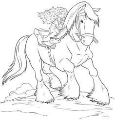 coloring page Brave - Merida riding Angus