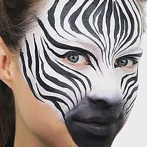 Find out how to create this easy zebra face paint design for your next jungle party. It's really easy to do with kids - just follow Ashlea Henson's expert face painting tips in our video tutorial. #paintingtips #howtofacepaint #facepainttutorial