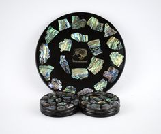 Genuine Paua Shell Plate and Matching Drink Coasters - Vintage New Zealand Kiwi Resin Serving Tray - Made in New Zealand Christmas Angel Decorations, Holiday Ornaments, Moving Boxes, Paua Shell, Drink Coasters, Kiwi, New Zealand, Vintage Items, Resin