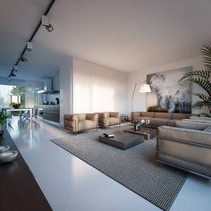 Interior renderings by George Nijland, via Behance
