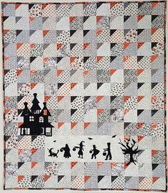 Trick Or Treat Clipped Corners Quilt Kit Halloween Quilt Patterns, Halloween Quilts, Quilting Projects, Quilting Designs, Sewing Projects, Halloween Sewing, Halloween Crafts, Quilt Block Patterns, Quilt Blocks