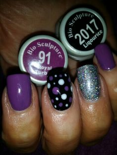 Bio sculpture gel nails with art Wow Nails, Glam Nails, Pretty Nails, Gel Nail Colors, Gel Color, Bio Gel Nails, Bio Sculpture Gel Nails, Make Me Up, How To Make