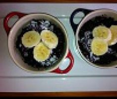 Recipe Black Sticky Rice with Coconut and Banana by Teresa Assi - Consultant VIC - Recipe of category Desserts & sweets No Cook Desserts, Sweets Recipes, Black Rice, Recipe Community, Popular Recipes, Coconut Milk, Acai Bowl, Deserts, Banana