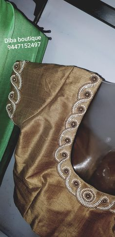 Pearl work embroidery Wedding Saree Blouse Designs, Simple Blouse Designs, Saree Blouse Neck Designs, Stylish Blouse Design, Hand Work Blouse Design, Aari Work Blouse, Mirror Work Blouse, Maggam Work Designs, Embroidery Neck Designs