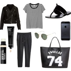 A fashion look from June 2014 featuring stripe tee, leather jackets and pleated trousers. Browse and shop related looks. Beauty Balm, The Balm, Polyvore, Image, Fashion, Slums, Moda, Fashion Styles, Fasion