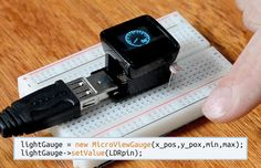 MicroView: is the first chip-sized Arduino compatible that lets you see what your Arduino is thinking using a built-in OLED display. Gauges, like this gauge showing the reading of a Light Sensor are easy to display with 2 lines of Arduino™ Code. $55.0