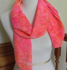 Hand Dyed Long Silk Scarf in Shades of Magenta and Golden Yellow, Crepe de Chine, Ready to Ship