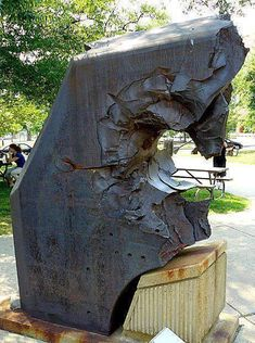 thick armor from Japanese Yamato class (Actually the Aircraft carrier Shinano )battleship pierced by a US Navy gun. The armor is on display at the US Navy Museum.