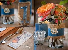 Diamond, Denim & Burlap Party/Reception, teal/turquoise instead of denim. Yellow, white & teal flowers