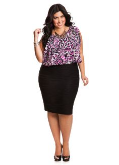 08fddeb051d Ashley Stewart Women s Plus Size Animal Print and Textured Dress - Plus  Size Dresses - AshleyStewart