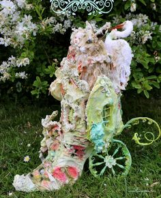 Spring stroll on a Carriage paper shoe house with mr Hare and a  little girl