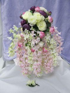 2 pc Pink Ivory Plum Green Silk Flower Cascade bridal bouquet boutonniere 60a