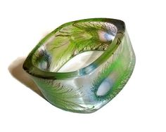 70's Lucite Peacock Feather Bangle by PopcornVintageByTann on Etsy