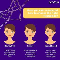 We absolutely adore neckpieces, yet we all have encountered ourselves in situations where something gorgeous just doesn't look good on us.  That's why we have whipped up this simple guide on choosing the right #neckpeice to enhance your appearance.  Let us know if you have any more questions about selecting the right neckpiece for yourself.  #askpankhuri #bridalstylist #bridegoals #jewellery #jewelery #necklace #lovenecklace #guide #lovetoaccessorize #indianwedding #ethnicwear #ethnicjewellery # Love Necklace, Short Necklace, Face Angles, Choose The Right, Jewelery, Let It Be, Simple, Jewlery, Jewels