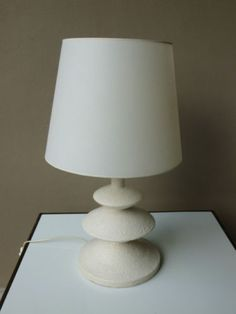 Sirmos Giacometti White Plaster Triple Tier Table Lamp by Jean Michel Frank | eBay