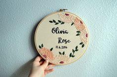 Custom Name Embroidery Hoop Modern Floral Baby Name Nursery
