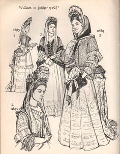 1690's Women's Fashion. Top Left 1690; Top Right 1689; Bottom 1690