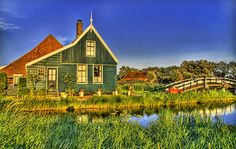 A quaint farmhouse overlooking the pond