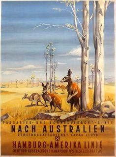 Australia HAPAG Cruise Line Kangaroo, 1930s - original vintage poster by Anton listed on AntikBar.co.uk